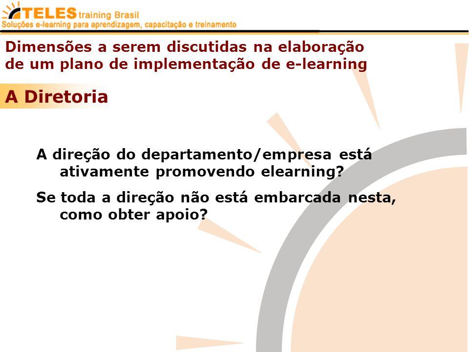 Dimensões a serem discutidas na elaboração de um plano de implementação de e-learning A Diretoria A direção do departamento/empresa está ativamente pr
