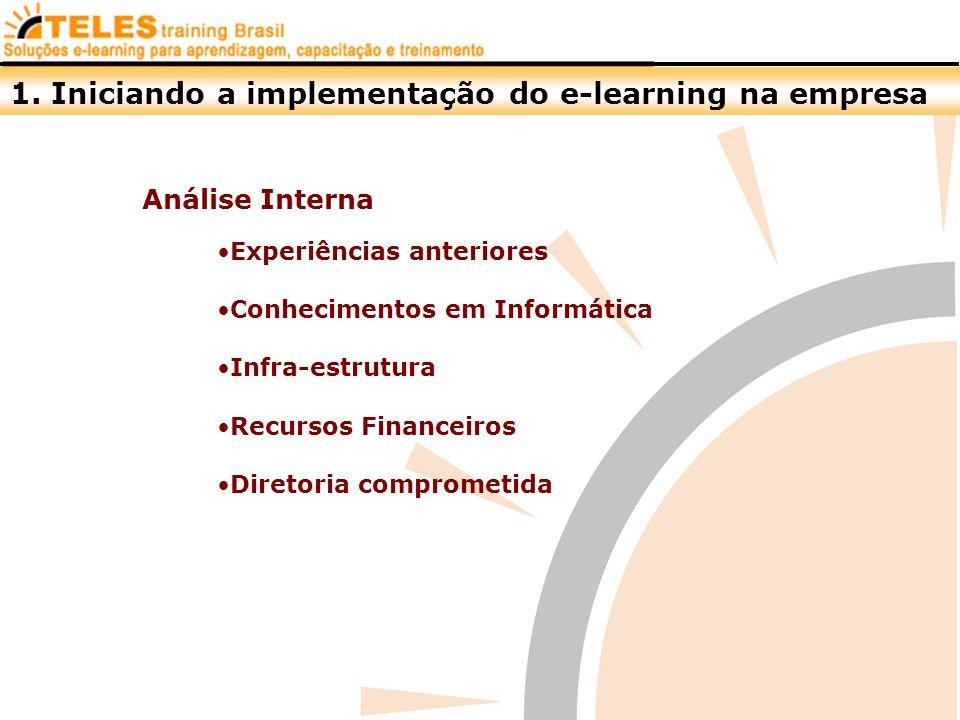 1. Iniciando a implementação do e-learning na empresa Análise Interna Experiências anteriores Conhecimentos em Informática Infra-estrutura Recursos Fi