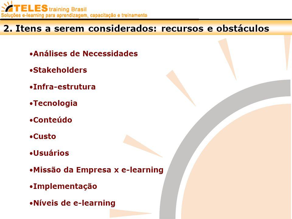 Análises de Necessidades Stakeholders Infra-estrutura Tecnologia Conteúdo Custo Usuários Missão da Empresa x e-learning Implementação Níveis de e-lear