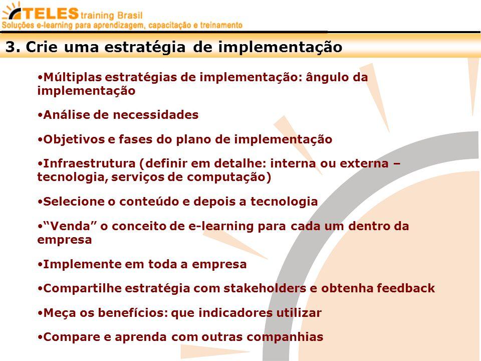 Análise de necessidades Múltiplas estratégias de implementação: ângulo da implementação Objetivos e fases do plano de implementação Infraestrutura (de