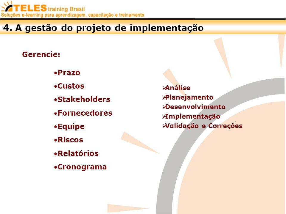 Gerencie: Prazo Custos Stakeholders Fornecedores Equipe Riscos Relatórios Cronograma Análise Planejamento Desenvolvimento Implementação Validação e Co