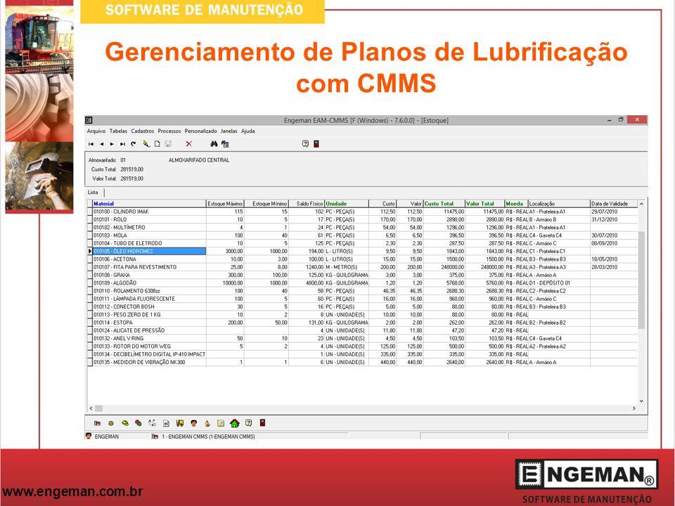 www.engeman.com.br Gerenciamento de Planos de Lubrificação com CMMS