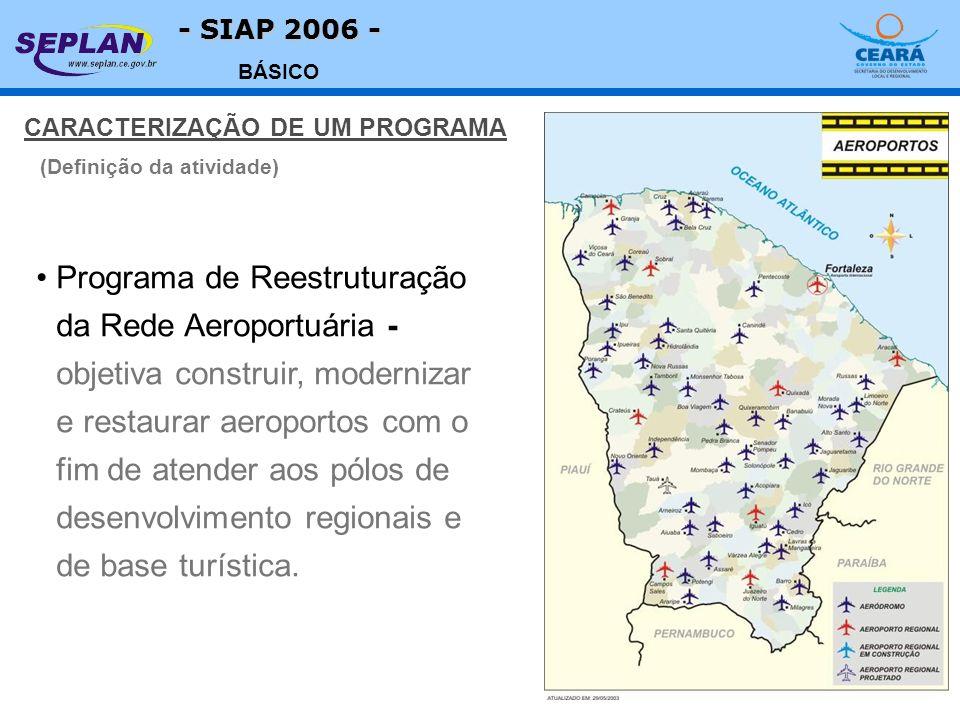 - SIAP 2006 - BÁSICO CARACTERIZAÇÃO DE UM PROGRAMA Programa de Reestruturação da Rede Aeroportuária - objetiva construir, modernizar e restaurar aeroportos com o fim de atender aos pólos de desenvolvimento regionais e de base turística.