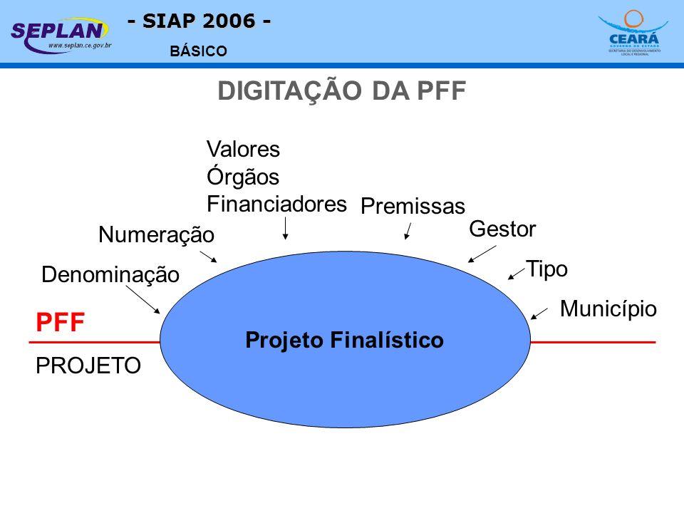- SIAP 2006 - BÁSICO Projeto Finalístico PFF PROJETO Denominação Numeração Premissas Gestor Tipo Valores Órgãos Financiadores Município DIGITAÇÃO DA P