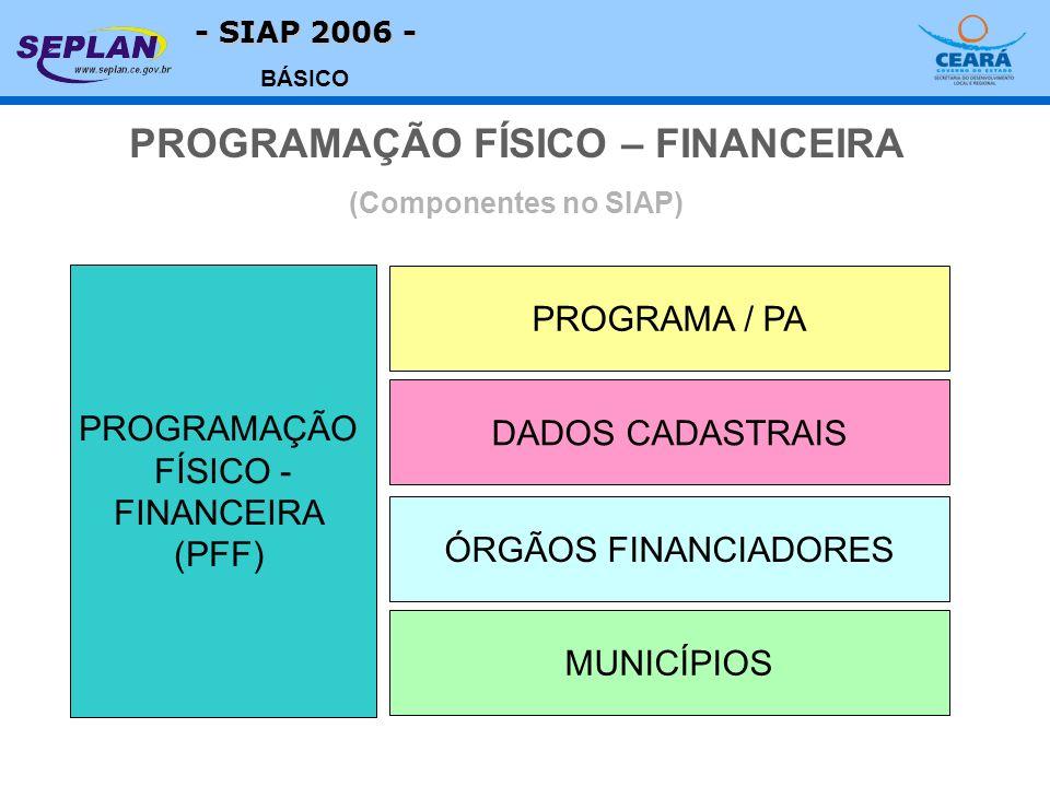 - SIAP 2006 - BÁSICO PROGRAMAÇÃO FÍSICO - FINANCEIRA (PFF) PROGRAMA / PA MUNICÍPIOS DADOS CADASTRAIS ÓRGÃOS FINANCIADORES PROGRAMAÇÃO FÍSICO – FINANCE