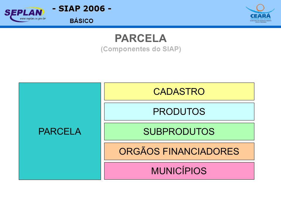 - SIAP 2006 - BÁSICO PARCELA CADASTRO SUBPRODUTOS ORGÃOS FINANCIADORES PRODUTOS MUNICÍPIOS PARCELA (Componentes do SIAP)