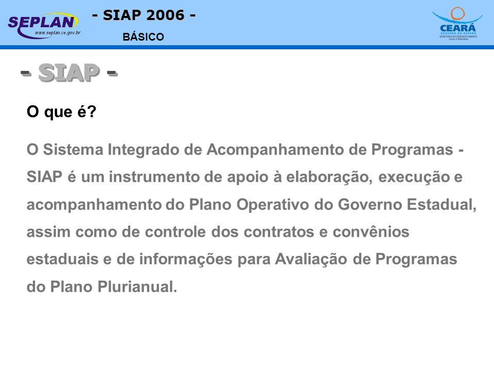 - SIAP 2006 - BÁSICO O Sistema Integrado de Acompanhamento de Programas - SIAP é um instrumento de apoio à elaboração, execução e acompanhamento do Pl