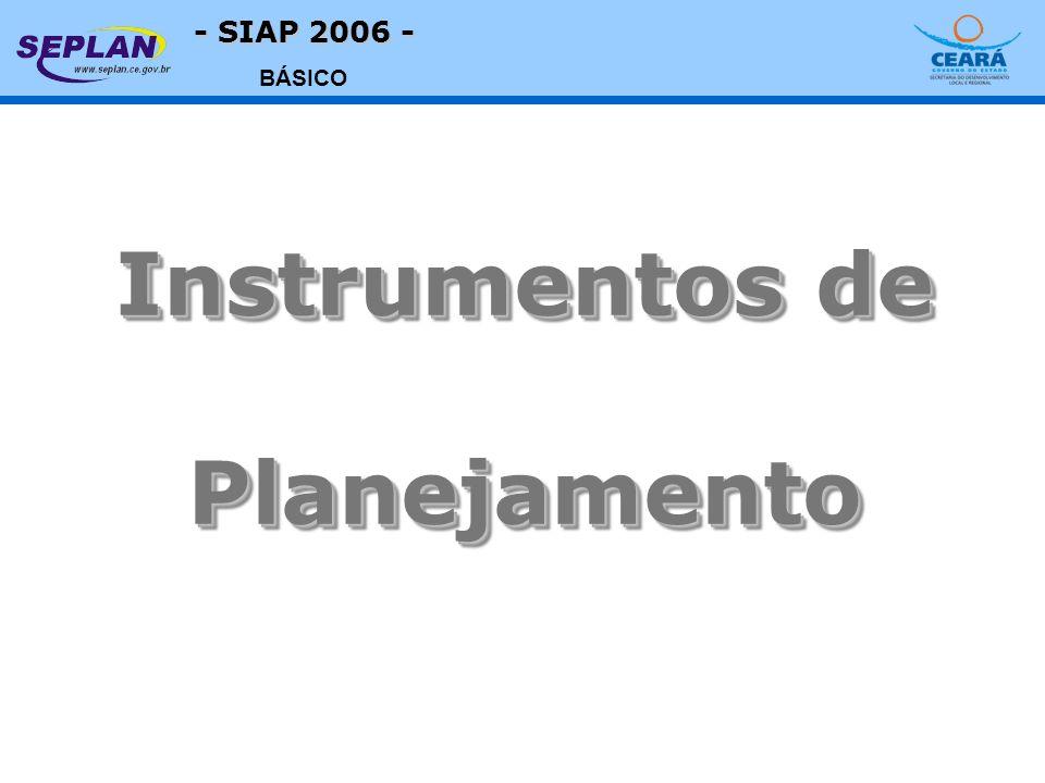 - SIAP 2006 - BÁSICO Instrumentos de Planejamento