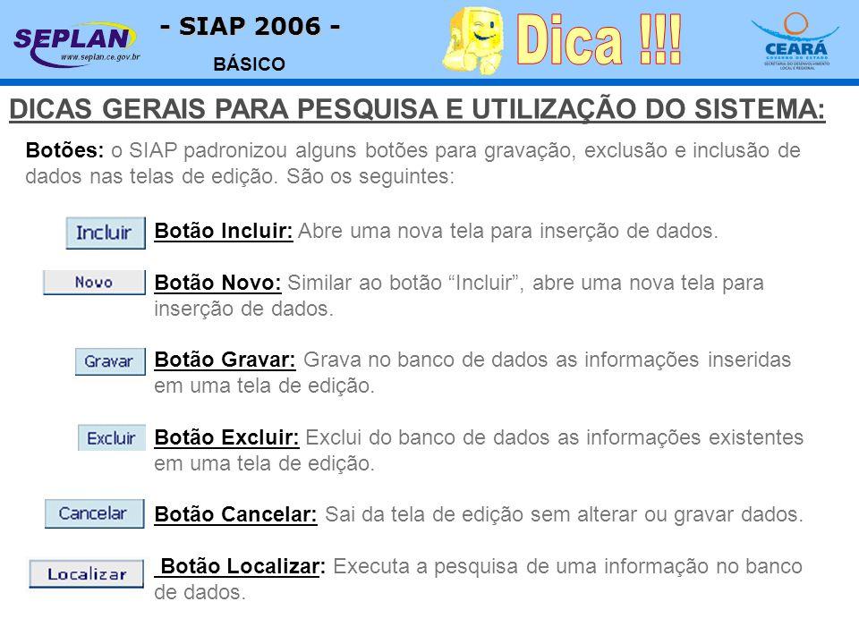 - SIAP 2006 - BÁSICO Botões: o SIAP padronizou alguns botões para gravação, exclusão e inclusão de dados nas telas de edição. São os seguintes: Botão
