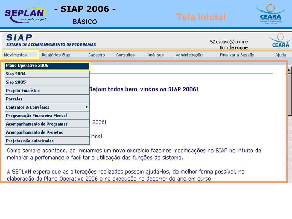 - SIAP 2006 - BÁSICO Tela Inicial