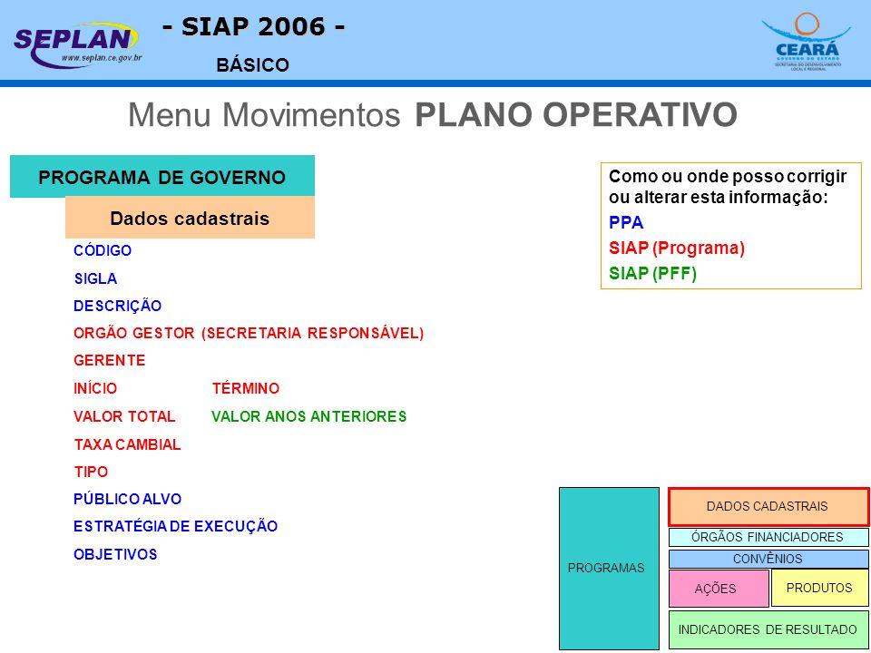 - SIAP 2006 - BÁSICO PROGRAMA DE GOVERNO CÓDIGO INDICADORES DE RESULTADO DADOS CADASTRAIS ÓRGÃOS FINANCIADORES AÇÕES PRODUTOS PROGRAMAS Dados cadastrais SIGLA DESCRIÇÃO ORGÃO GESTOR (SECRETARIA RESPONSÁVEL) GERENTE INÍCIOTÉRMINO TAXA CAMBIAL TIPO PÚBLICO ALVO ESTRATÉGIA DE EXECUÇÃO OBJETIVOS VALOR TOTALVALOR ANOS ANTERIORES Como ou onde posso corrigir ou alterar esta informação: PPA SIAP (Programa) SIAP (PFF) CONVÊNIOS Menu Movimentos PLANO OPERATIVO