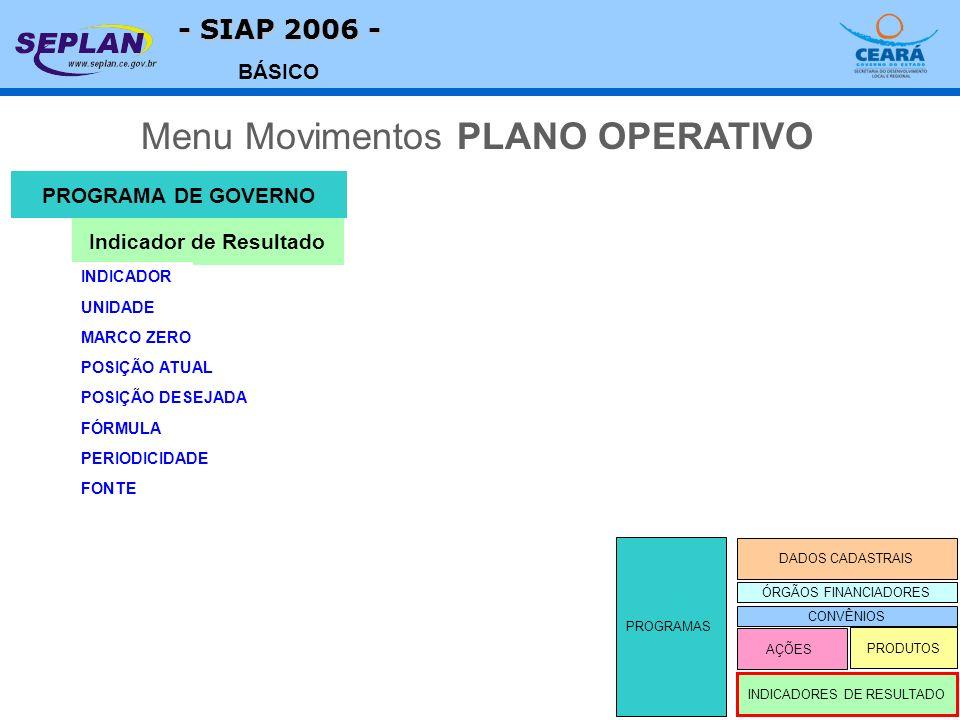 - SIAP 2006 - BÁSICO Menu Movimentos PLANO OPERATIVO INDICADORES DE RESULTADO DADOS CADASTRAIS AÇÕES PRODUTOS PROGRAMAS PROGRAMA DE GOVERNO Indicador