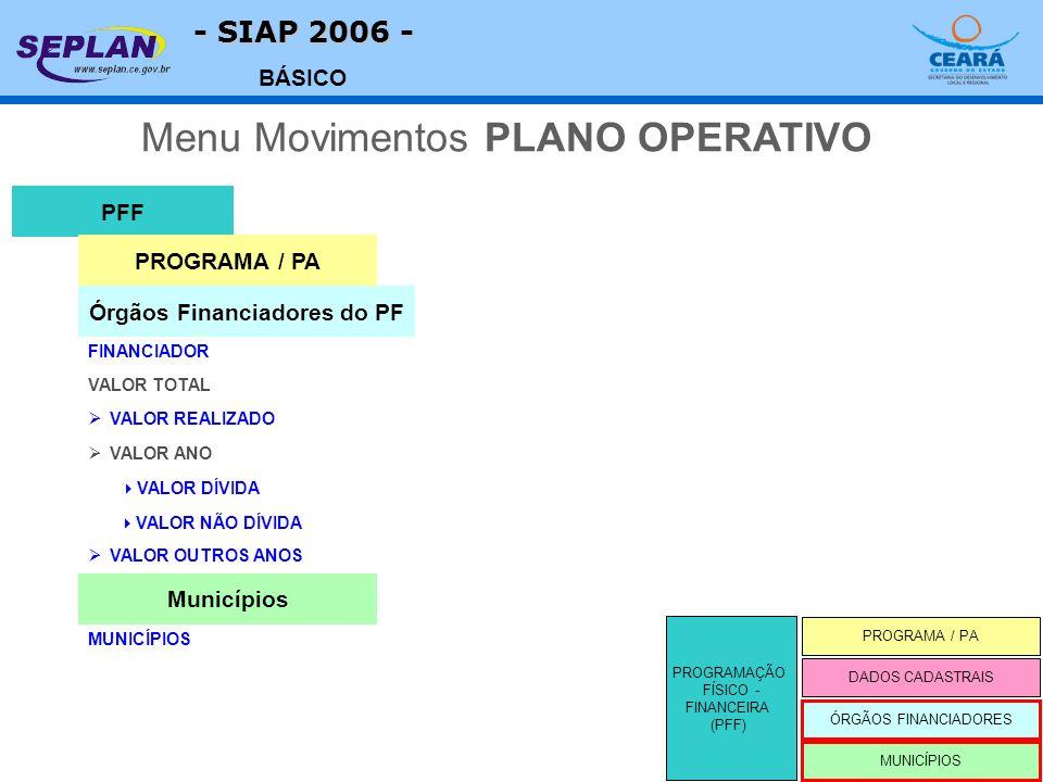 - SIAP 2006 - BÁSICO VALOR TOTAL PFF FINANCIADOR Menu Movimentos PLANO OPERATIVO Órgãos Financiadores do PF VALOR REALIZADO PROGRAMAÇÃO FÍSICO - FINANCEIRA (PFF) PROGRAMA / PA MUNICÍPIOS DADOS CADASTRAIS ÓRGÃOS FINANCIADORES PROGRAMA / PA VALOR ANO VALOR DÍVIDA VALOR NÃO DÍVIDA VALOR OUTROS ANOS MUNICÍPIOS Municípios