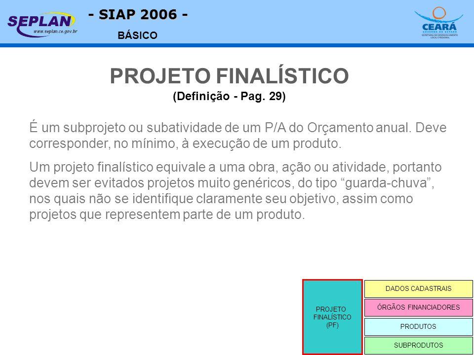 - SIAP 2006 - BÁSICO É um subprojeto ou subatividade de um P/A do Orçamento anual. Deve corresponder, no mínimo, à execução de um produto. Um projeto