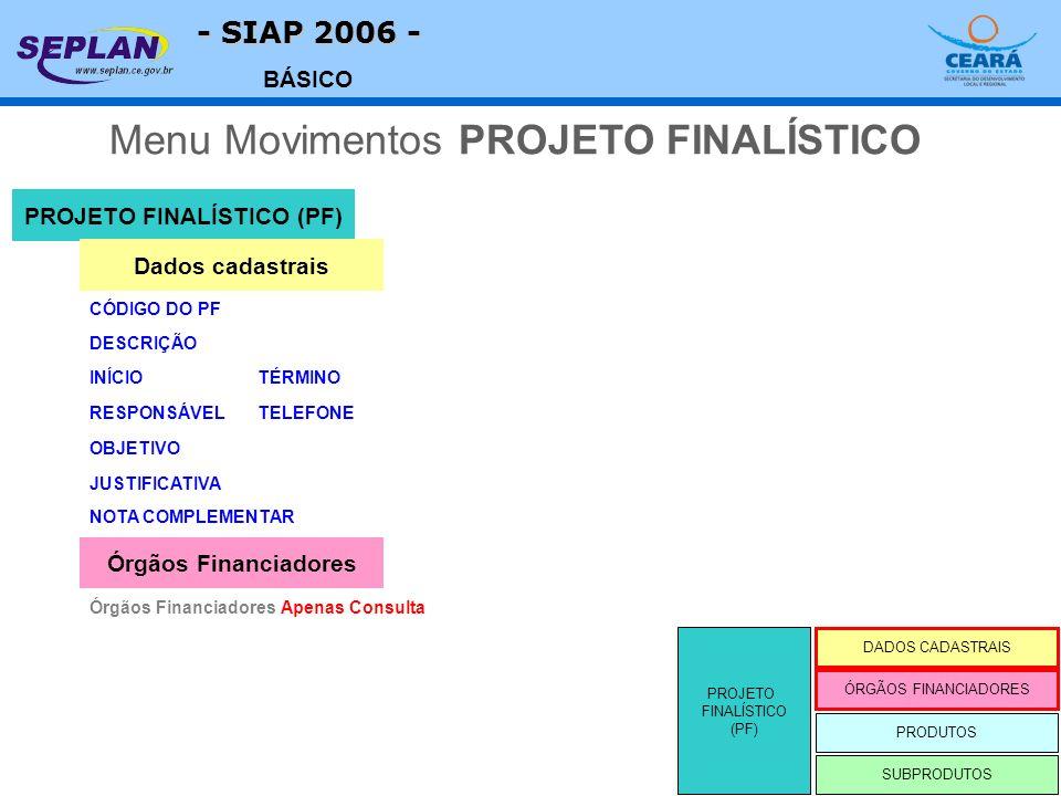 - SIAP 2006 - BÁSICO DESCRIÇÃO PROJETO FINALÍSTICO (PF) CÓDIGO DO PF DADOS CADASTRAIS ÓRGÃOS FINANCIADORES PRODUTOS Dados cadastrais RESPONSÁVEL OBJETIVO JUSTIFICATIVA NOTA COMPLEMENTAR INÍCIOTÉRMINO TELEFONE Órgãos Financiadores Apenas Consulta Órgãos Financiadores Menu Movimentos PROJETO FINALÍSTICO PROJETO FINALÍSTICO (PF) SUBPRODUTOS