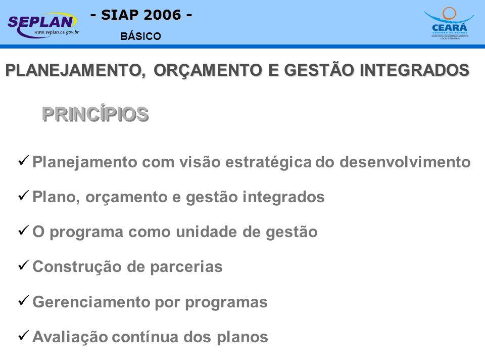 - SIAP 2006 - BÁSICO Planejamento com visão estratégica do desenvolvimento Plano, orçamento e gestão integrados O programa como unidade de gestão Cons