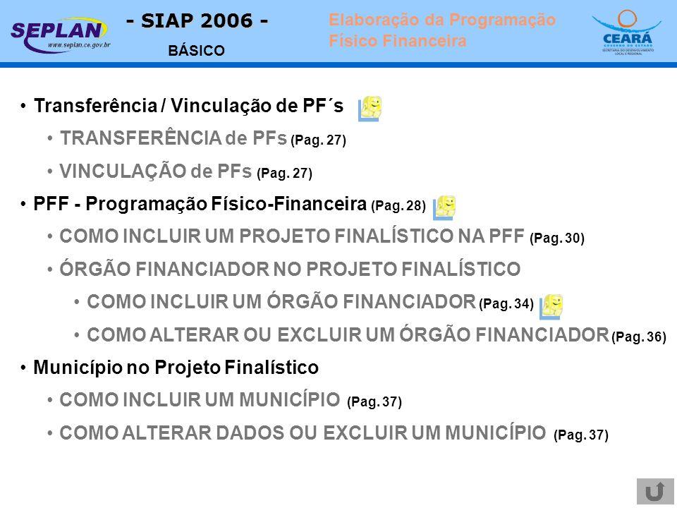 - SIAP 2006 - BÁSICO Elaboração da Programação Físico Financeira Transferência / Vinculação de PF´s TRANSFERÊNCIA de PFs (Pag. 27) VINCULAÇÃO de PFs (