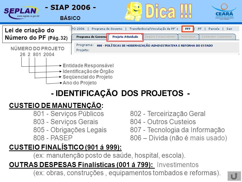 - SIAP 2006 - BÁSICO Lei de criação do Número do PF (Pág. 32) CUSTEIO DE MANUTENÇÃO: 801 - Serviços Públicos802 - Terceirização Geral 803 - Serviços G