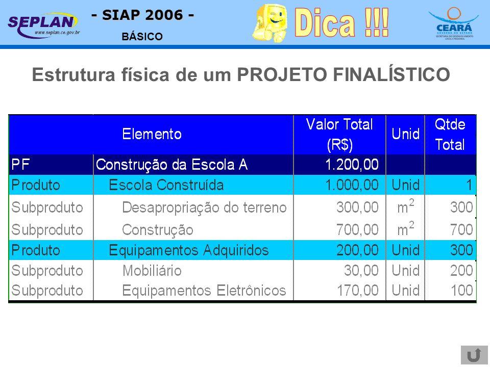- SIAP 2006 - BÁSICO Estrutura física de um PROJETO FINALÍSTICO