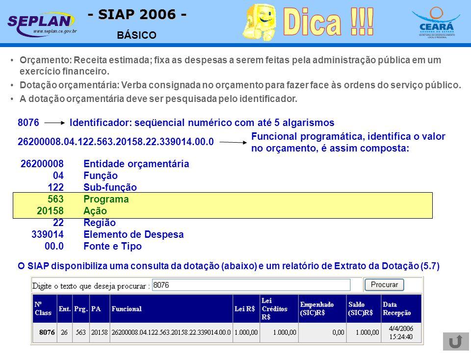 - SIAP 2006 - BÁSICO Orçamento: Receita estimada; fixa as despesas a serem feitas pela administração pública em um exercício financeiro. Dotação orçam