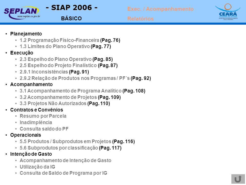 - SIAP 2006 - BÁSICO Planejamento 1.2 Programação Físico-Financeira (Pag. 76) 1.3 Limites do Plano Operativo (Pag. 77) Execução 2.3 Espelho do Plano O