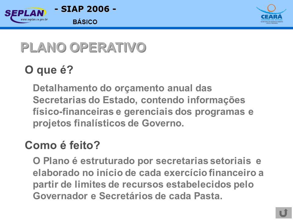 - SIAP 2006 - BÁSICO Detalhamento do orçamento anual das Secretarias do Estado, contendo informações físico-financeiras e gerenciais dos programas e projetos finalísticos de Governo.