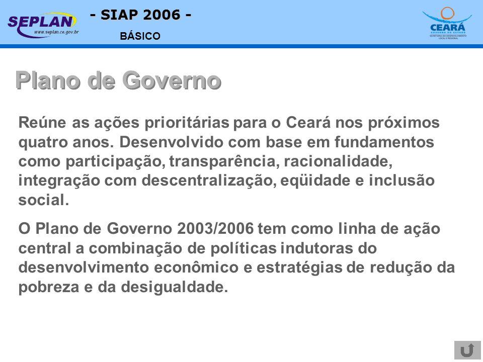 - SIAP 2006 - BÁSICO Reúne as ações prioritárias para o Ceará nos próximos quatro anos. Desenvolvido com base em fundamentos como participação, transp