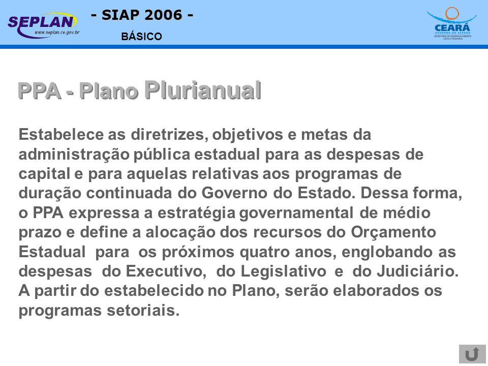 - SIAP 2006 - BÁSICO Estabelece as diretrizes, objetivos e metas da administração pública estadual para as despesas de capital e para aquelas relativas aos programas de duração continuada do Governo do Estado.