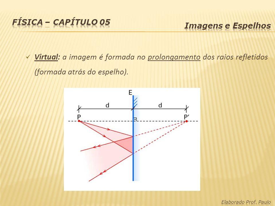 Virtual: a imagem é formada no prolongamento dos raios refletidos (formada atrás do espelho).