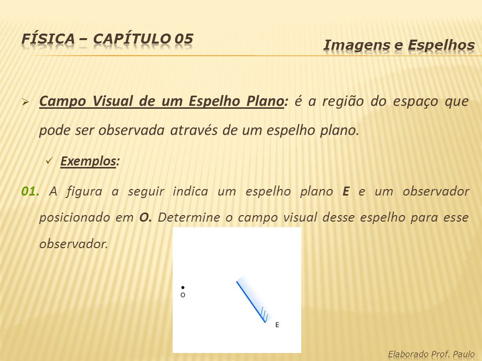 Campo Visual de um Espelho Plano: é a região do espaço que pode ser observada através de um espelho plano. Exemplos: 01. A figura a seguir indica um e