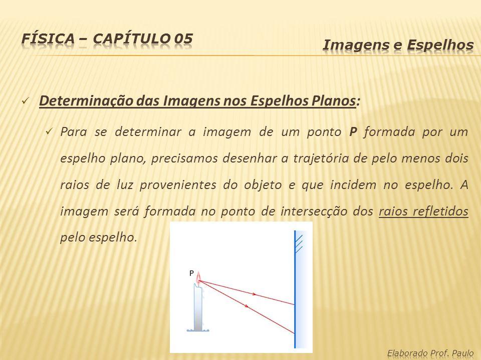 Determinação das Imagens nos Espelhos Planos: Para se determinar a imagem de um ponto P formada por um espelho plano, precisamos desenhar a trajetória
