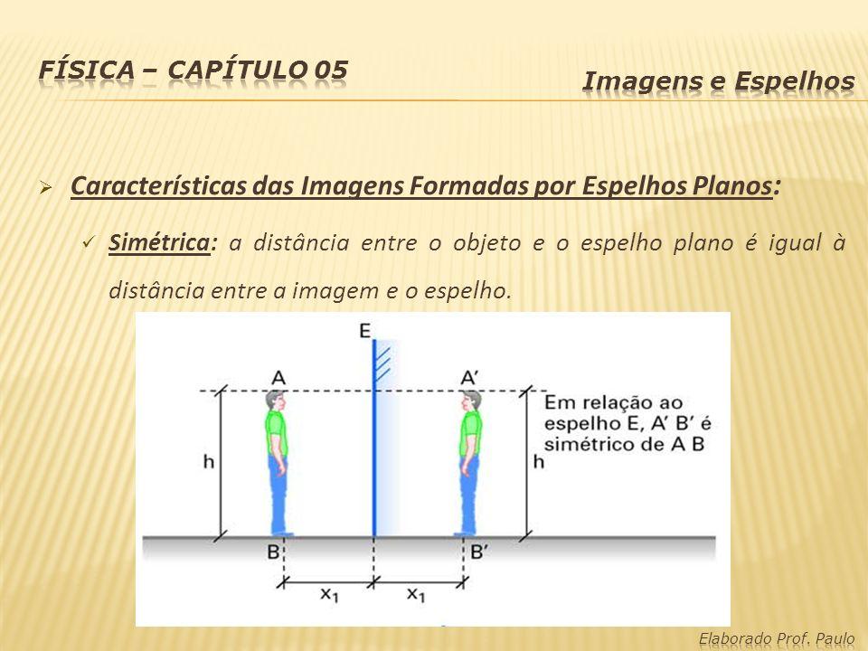 Características das Imagens Formadas por Espelhos Planos : Simétrica: a distância entre o objeto e o espelho plano é igual à distância entre a imagem