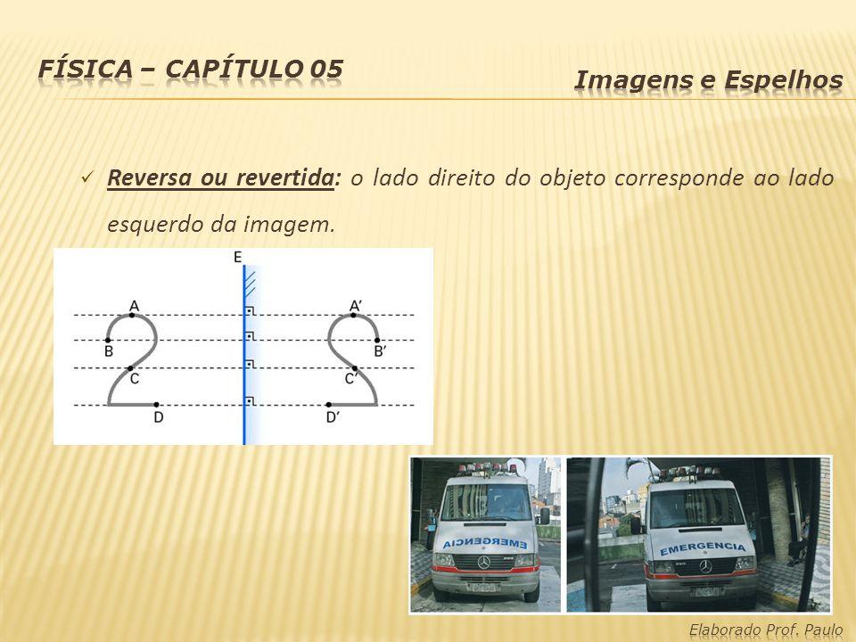 Reversa ou revertida: o lado direito do objeto corresponde ao lado esquerdo da imagem.