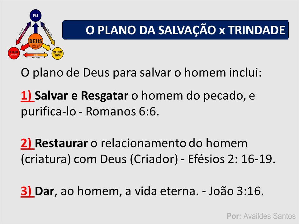 O plano de Deus para salvar o homem inclui: 1) Salvar e Resgatar o homem do pecado, e purifica-lo - Romanos 6:6.