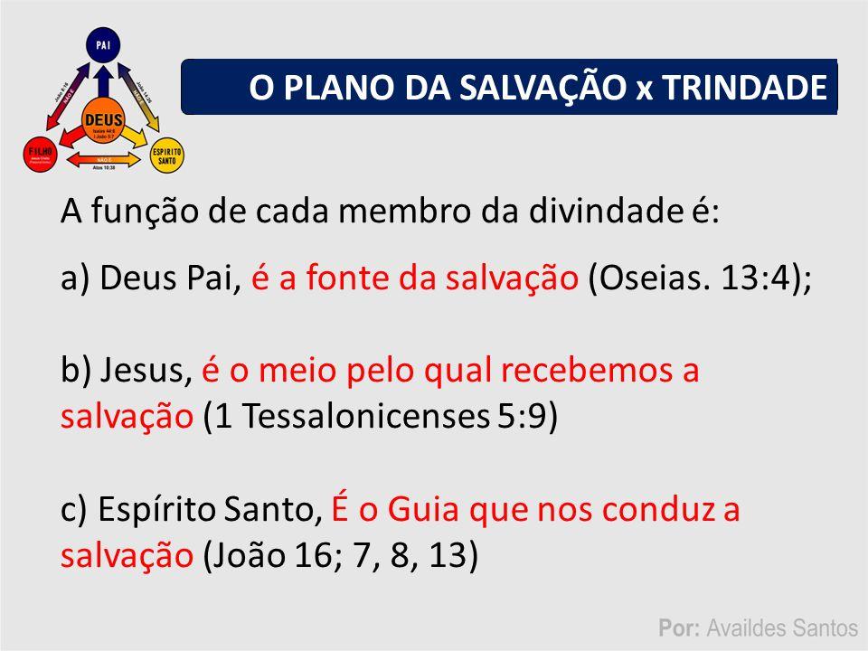 A função de cada membro da divindade é: a) Deus Pai, é a fonte da salvação (Oseias.