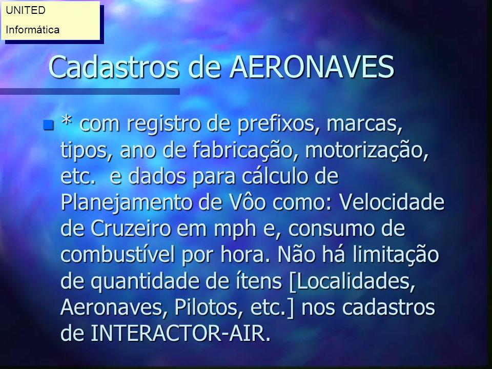 Cadastros de AERONAVES n * com registro de prefixos, marcas, tipos, ano de fabricação, motorização, etc.
