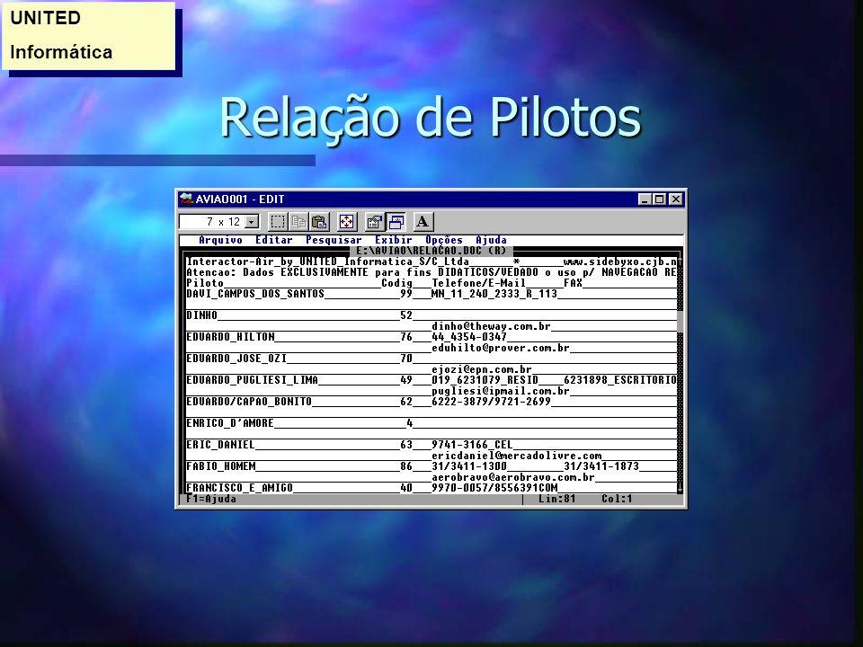 Relação de Pilotos Relação de Pilotos UNITED Informática UNITED Informática