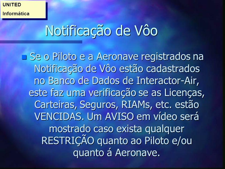 Notificação de Vôo n Se o Piloto e a Aeronave registrados na Notificação de Vôo estão cadastrados no Banco de Dados de Interactor-Air, este faz uma verificação se as Licenças, Carteiras, Seguros, RIAMs, etc.