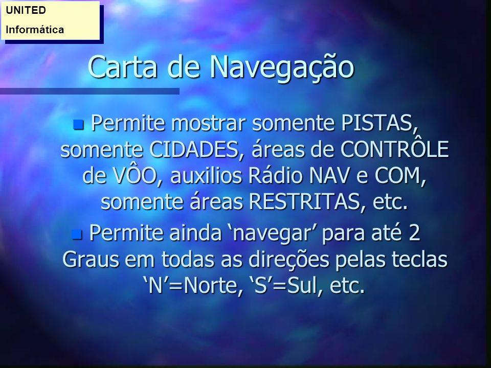 Carta de Navegação n Permite mostrar somente PISTAS, somente CIDADES, áreas de CONTRÔLE de VÔO, auxilios Rádio NAV e COM, somente áreas RESTRITAS, etc.