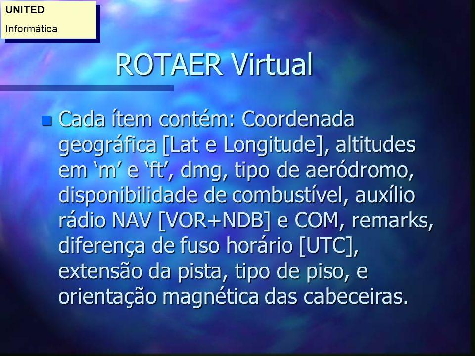 ROTAER Virtual n Cada ítem contém: Coordenada geográfica [Lat e Longitude], altitudes em m e ft, dmg, tipo de aeródromo, disponibilidade de combustível, auxílio rádio NAV [VOR+NDB] e COM, remarks, diferença de fuso horário [UTC], extensão da pista, tipo de piso, e orientação magnética das cabeceiras.
