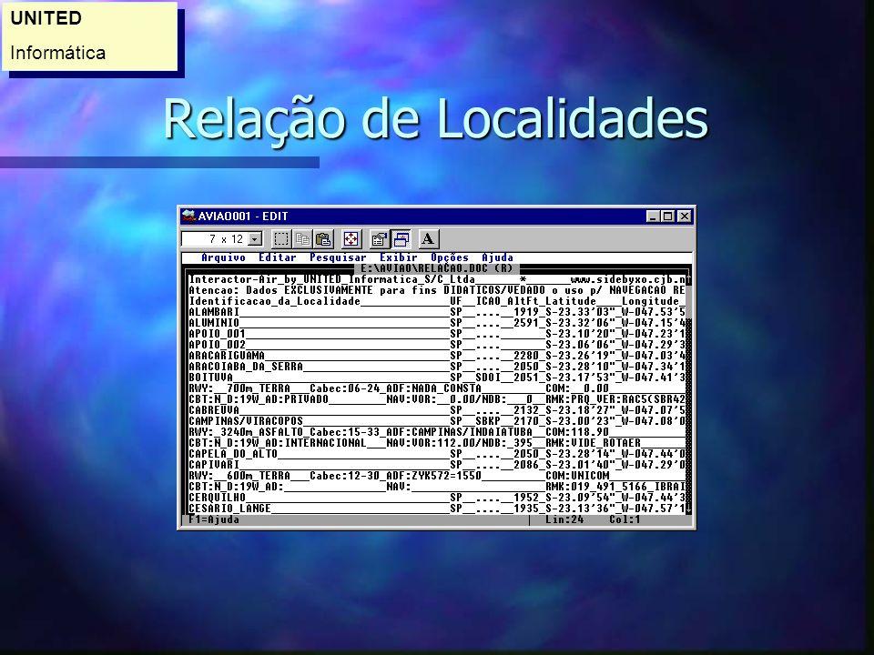 Relação de Localidades Relação de Localidades UNITED Informática UNITED Informática