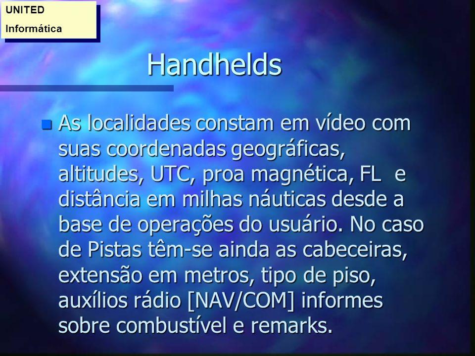 Handhelds n As localidades constam em vídeo com suas coordenadas geográficas, altitudes, UTC, proa magnética, FL e distância em milhas náuticas desde a base de operações do usuário.