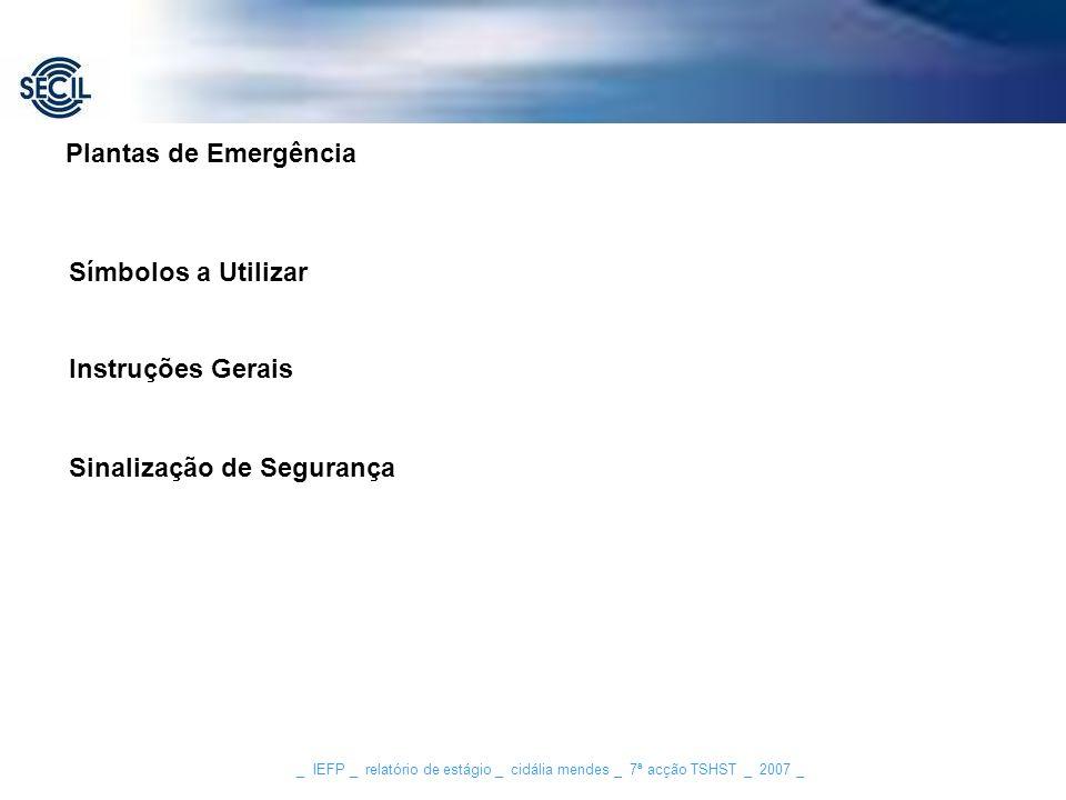 _ IEFP _ relatório de estágio _ cidália mendes _ 7ª acção TSHST _ 2007 _ Símbolos a Utilizar Instruções Gerais Sinalização de Segurança Plantas de Eme