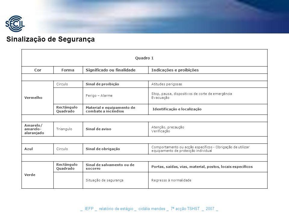 _ IEFP _ relatório de estágio _ cidália mendes _ 7ª acção TSHST _ 2007 _ Sinalização de Segurança Quadro 1 CorFormaSignificado ou finalidadeIndicações