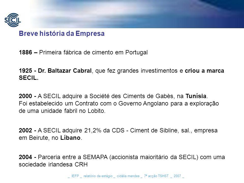 _ IEFP _ relatório de estágio _ cidália mendes _ 7ª acção TSHST _ 2007 _ Breve história da Empresa 1886 – Primeira fábrica de cimento em Portugal 1925