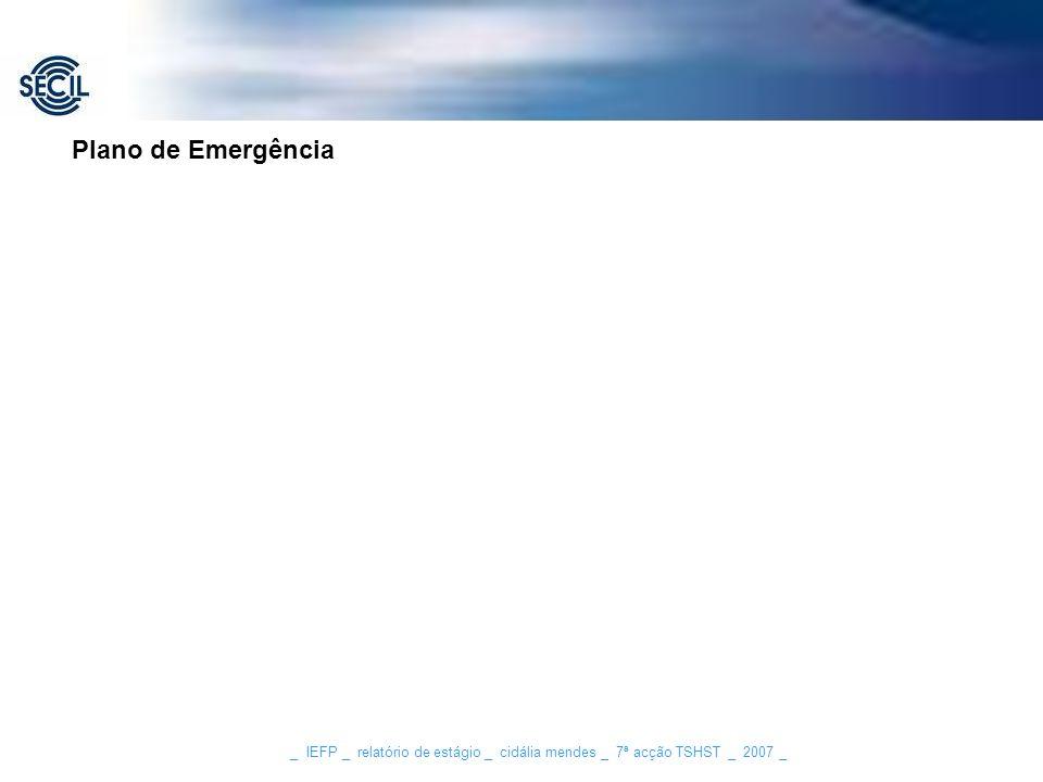 _ IEFP _ relatório de estágio _ cidália mendes _ 7ª acção TSHST _ 2007 _ Plano de Emergência