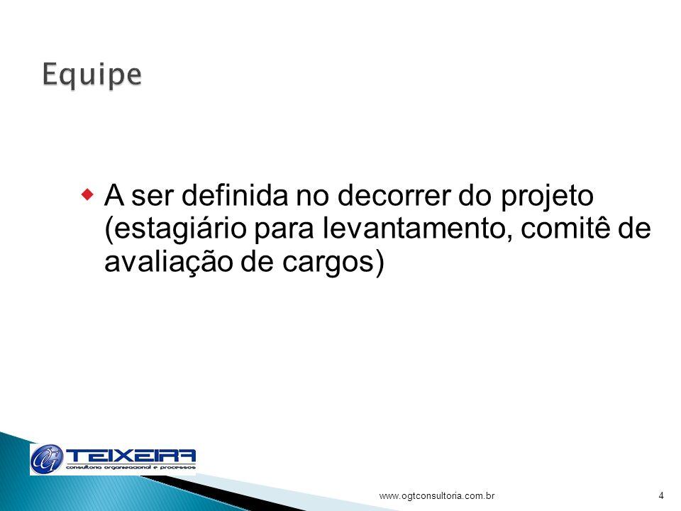 4 A ser definida no decorrer do projeto (estagiário para levantamento, comitê de avaliação de cargos)