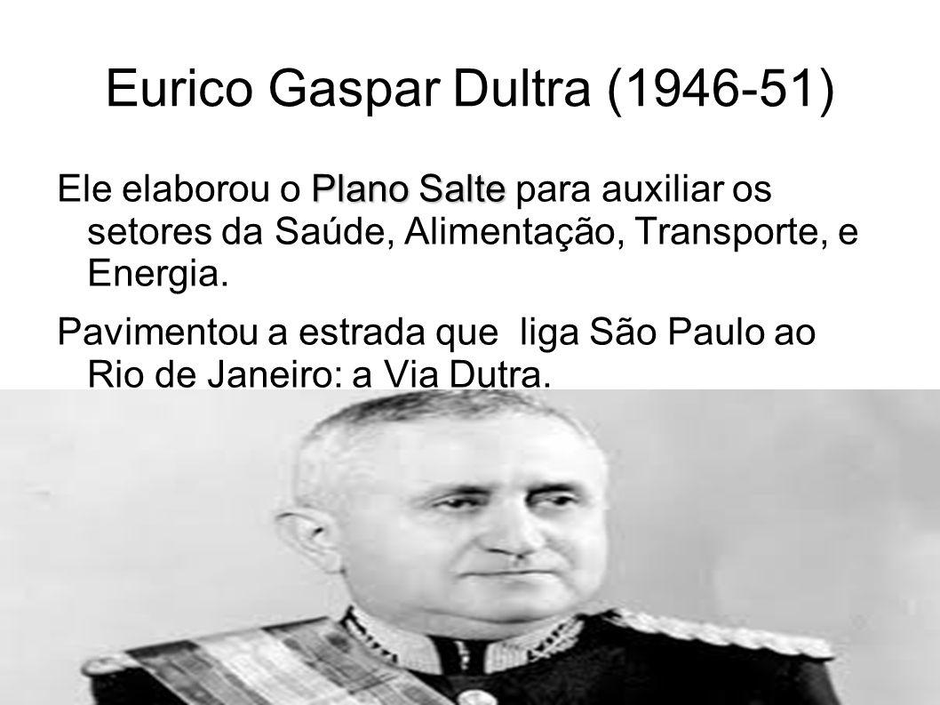 Eurico Gaspar Dultra (1946-51) Plano Salte Ele elaborou o Plano Salte para auxiliar os setores da Saúde, Alimentação, Transporte, e Energia. Pavimento