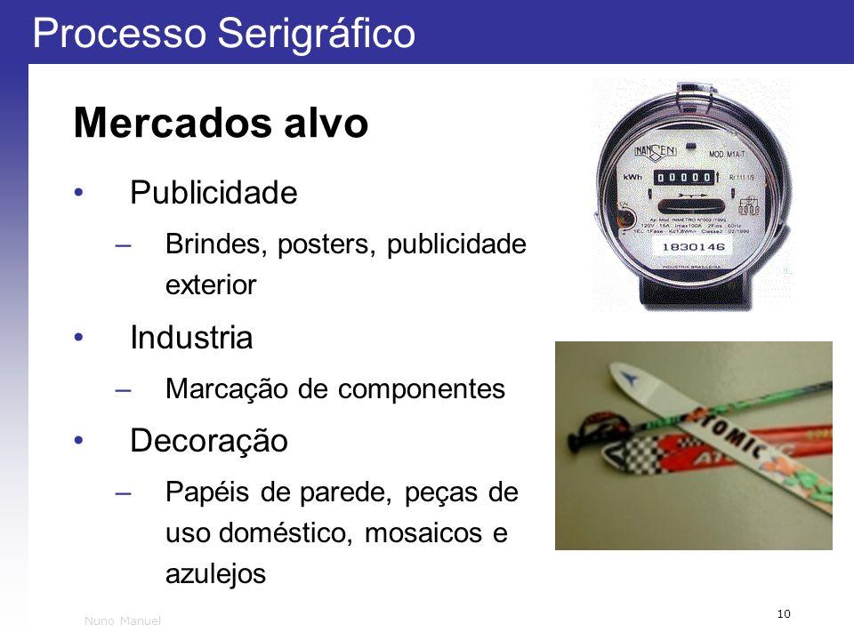 Processo Serigráfico 10 Nuno Manuel Mercados alvo Publicidade –Brindes, posters, publicidade exterior Industria –Marcação de componentes Decoração –Pa