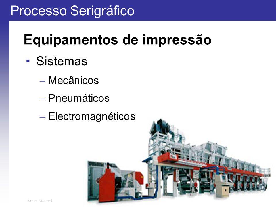 Processo Serigráfico 13 Nuno Manuel Equipamentos de impressão Sistemas –Mecânicos –Pneumáticos –Electromagnéticos
